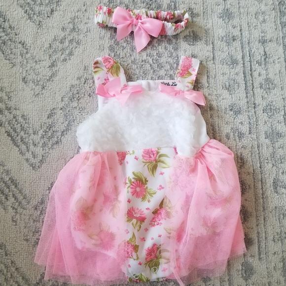 Little Lass baby girl 3-6 month romper set